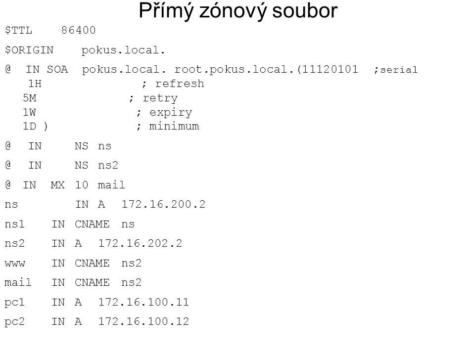 Přímý zónový soubor $TTL 86400 $ORIGIN pokus.local.
