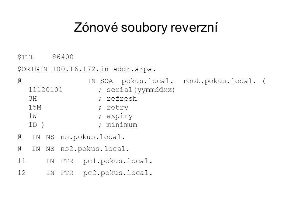 Zónové soubory reverzní $TTL 86400 $ORIGIN 100.16.172.in-addr.arpa.