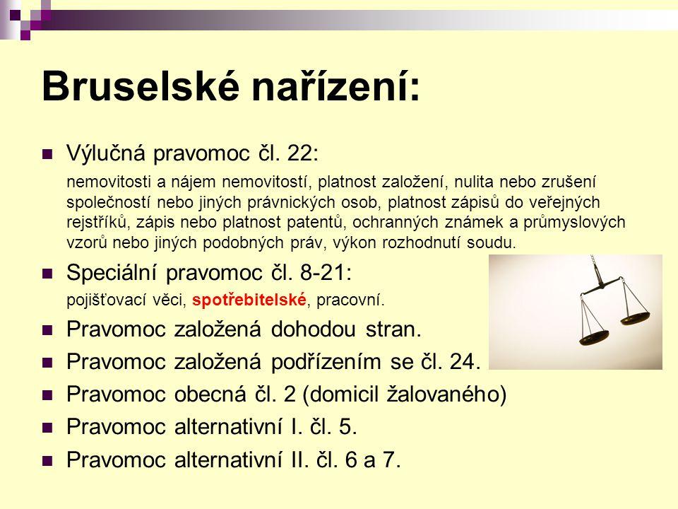 Bruselské nařízení: Výlučná pravomoc čl.