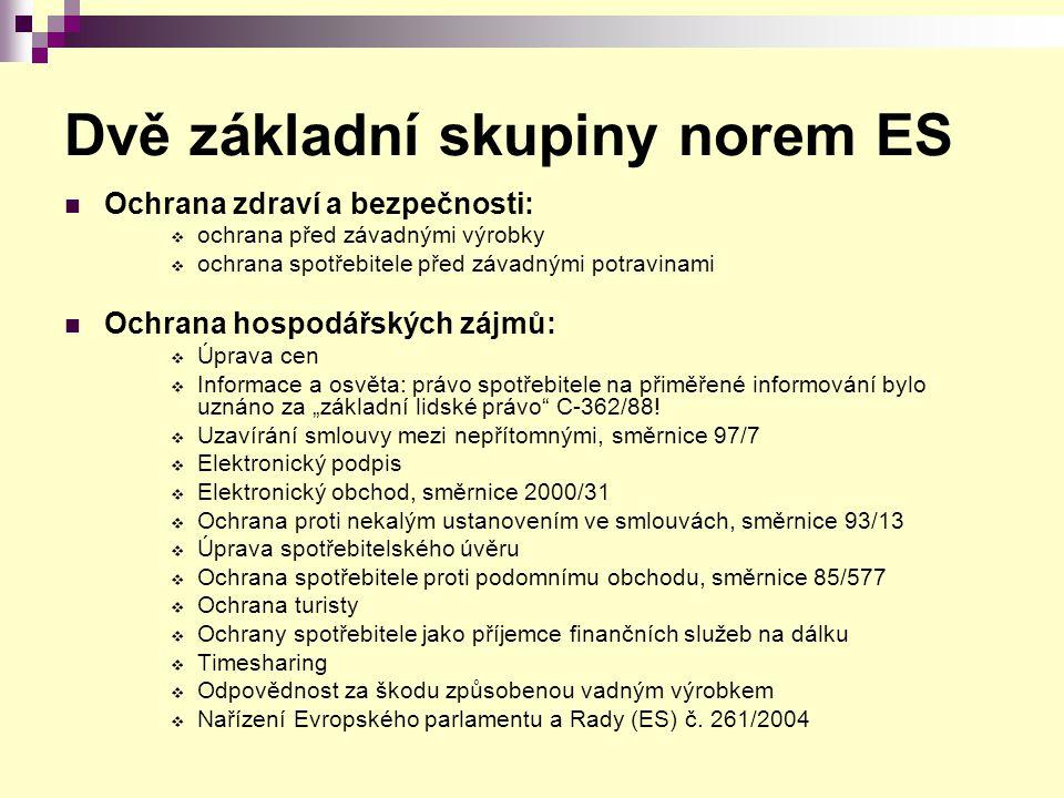 Dvě základní skupiny norem ES Ochrana zdraví a bezpečnosti:  ochrana před závadnými výrobky  ochrana spotřebitele před závadnými potravinami Ochrana