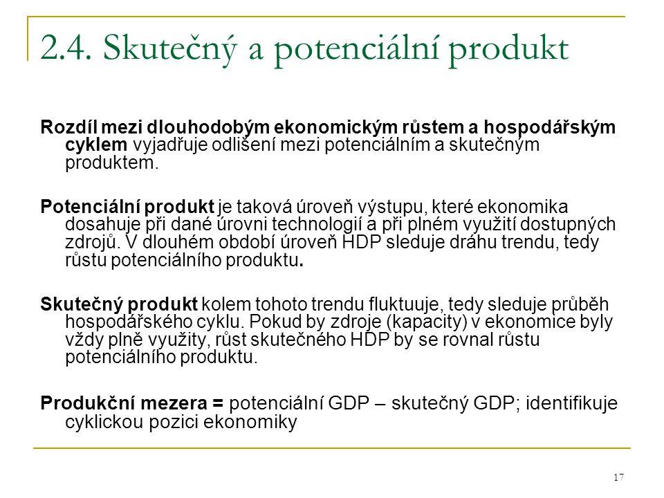 17 2.4. Skutečný a potenciální produkt Rozdíl mezi dlouhodobým ekonomickým růstem a hospodářským cyklem vyjadřuje odlišení mezi potenciálním a skutečn