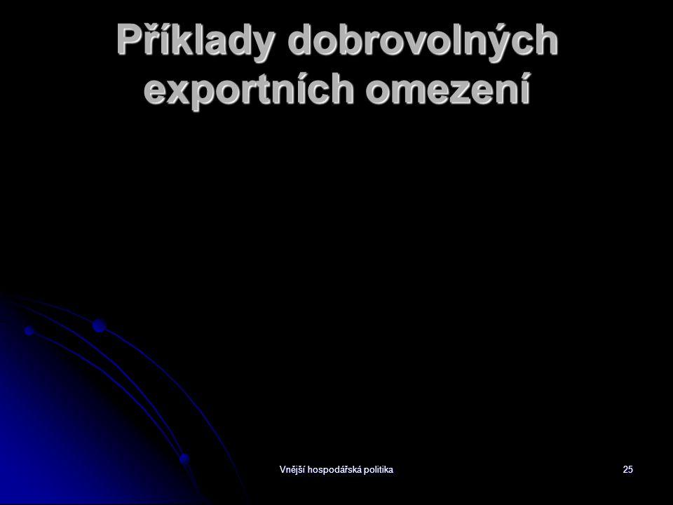 Vnější hospodářská politika25 Příklady dobrovolných exportních omezení