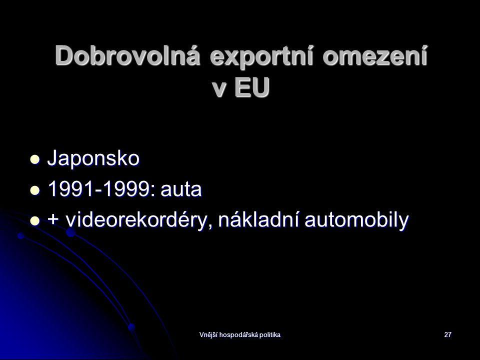 Vnější hospodářská politika27 Dobrovolná exportní omezení v EU Japonsko Japonsko 1991-1999: auta 1991-1999: auta + videorekordéry, nákladní automobily + videorekordéry, nákladní automobily