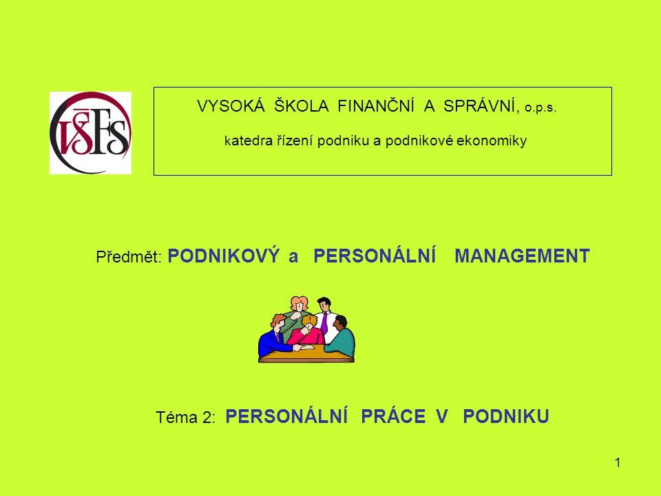 1 VYSOKÁ ŠKOLA FINANČNÍ A SPRÁVNÍ, o.p.s. k atedra řízení podniku a podnikové ekonomiky Předmět: PODNIKOVÝ a PERSONÁLNÍ MANAGEMENT Téma 2: PERSONÁLNÍ