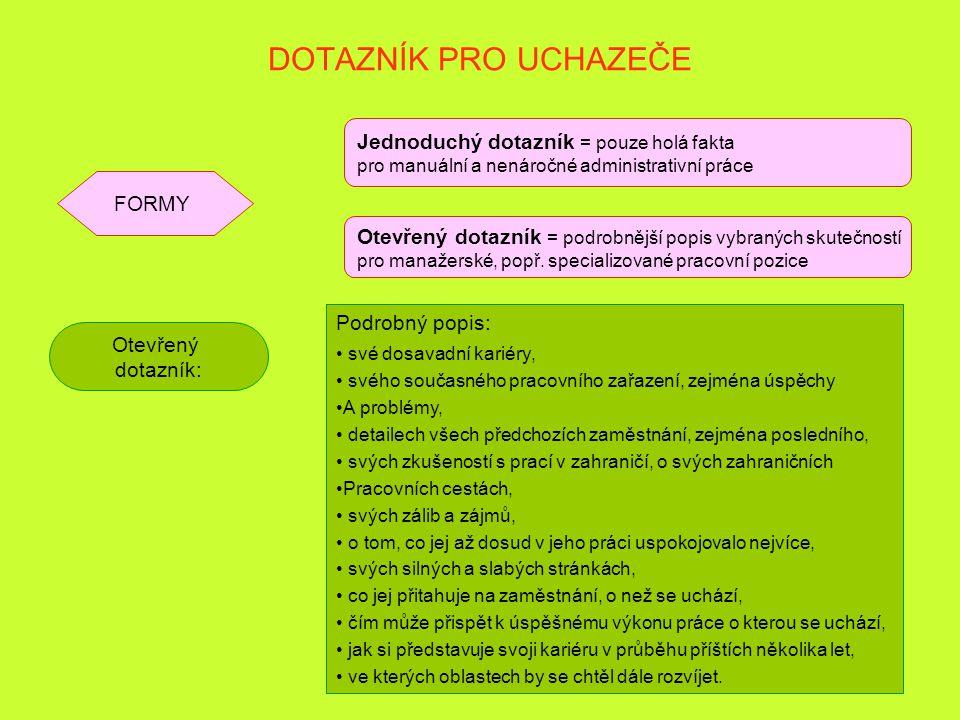 28 DOTAZNÍK PRO UCHAZEČE FORMY Jednoduchý dotazník = pouze holá fakta pro manuální a nenáročné administrativní práce Otevřený dotazník = podrobnější p