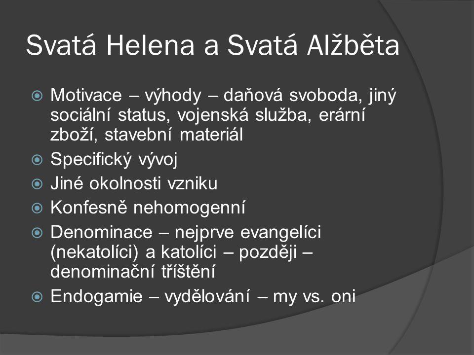 Svatá Helena a Svatá Alžběta  Motivace – výhody – daňová svoboda, jiný sociální status, vojenská služba, erární zboží, stavební materiál  Specifický vývoj  Jiné okolnosti vzniku  Konfesně nehomogenní  Denominace – nejprve evangelíci (nekatolíci) a katolíci – později – denominační tříštění  Endogamie – vydělování – my vs.