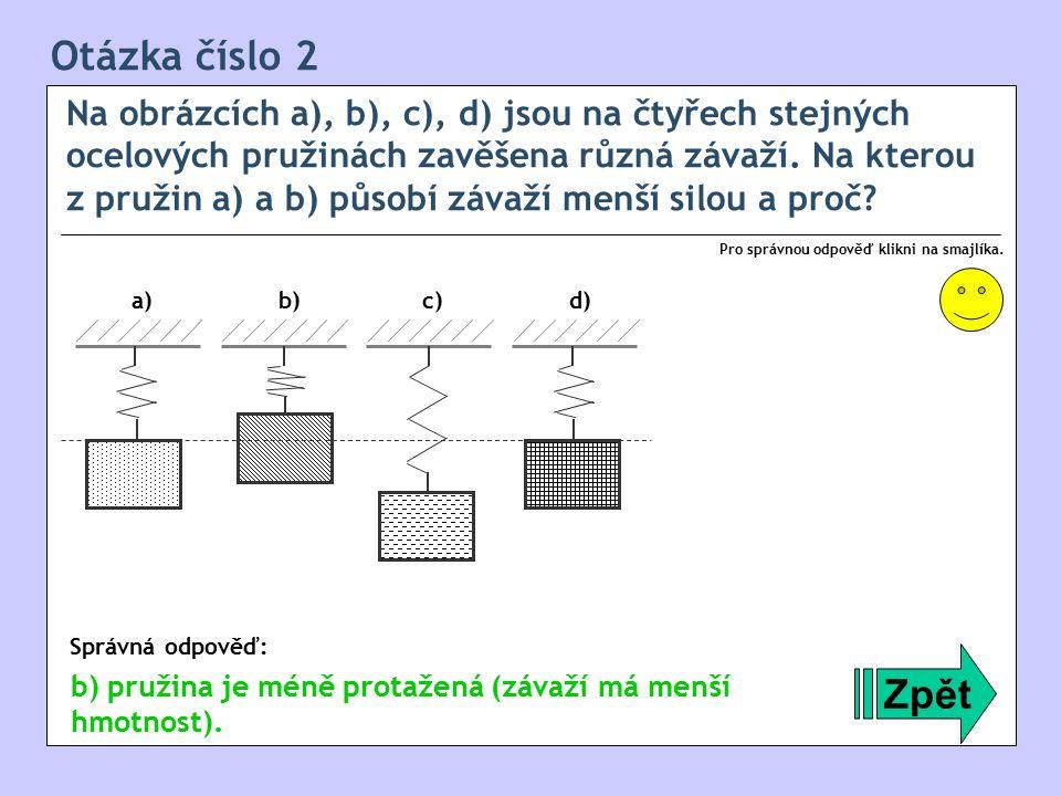 Otázka číslo 13 Na obrázcích a), b), c), d) jsou na čtyřech stejných ocelových pružinách zavěšena různá závaží.