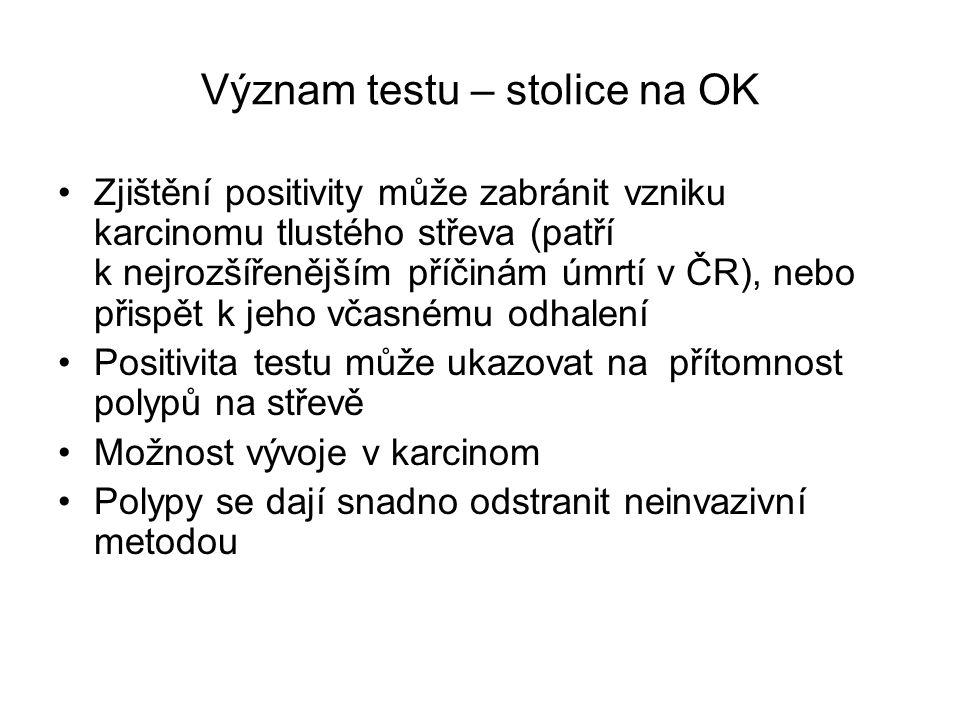Význam testu – stolice na OK Zjištění positivity může zabránit vzniku karcinomu tlustého střeva (patří k nejrozšířenějším příčinám úmrtí v ČR), nebo p