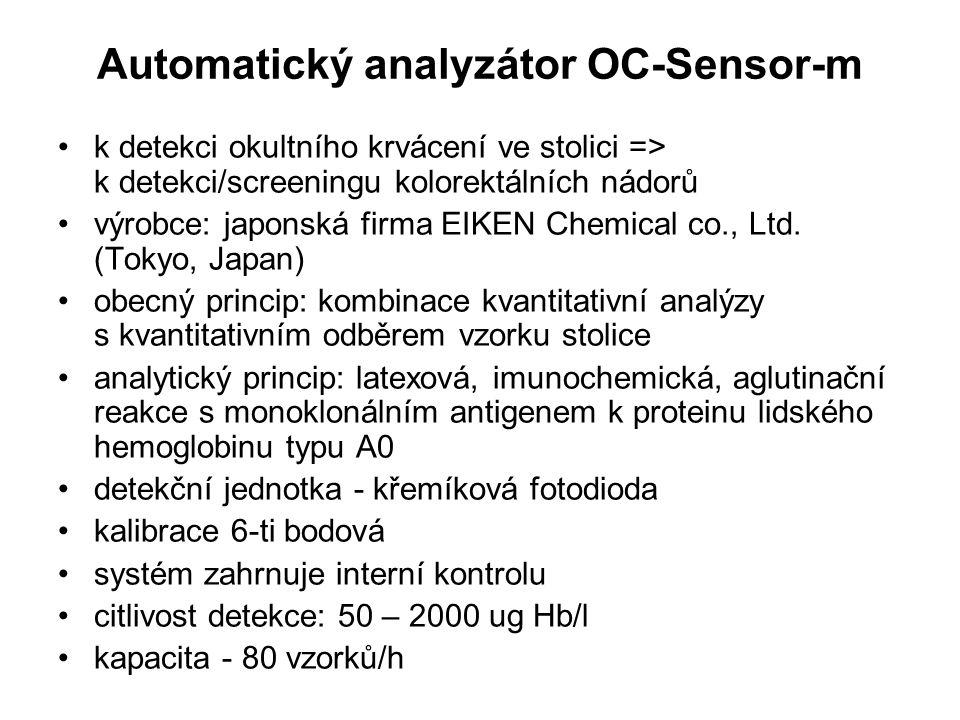 Automatický analyzátor OC-Sensor-m k detekci okultního krvácení ve stolici => k detekci/screeningu kolorektálních nádorů výrobce: japonská firma EIKEN Chemical co., Ltd.