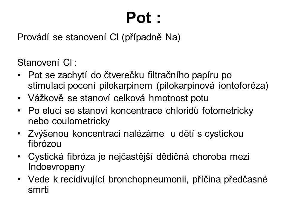 Pot : Provádí se stanovení Cl (případně Na) Stanovení Cl - : Pot se zachytí do čtverečku filtračního papíru po stimulaci pocení pilokarpinem (pilokarp