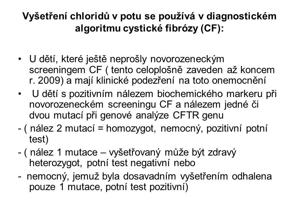 Vyšetření chloridů v potu se používá v diagnostickém algoritmu cystické fibrózy (CF): U dětí, které ještě neprošly novorozeneckým screeningem CF ( ten