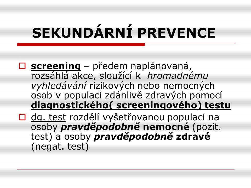 SEKUNDÁRNÍ PREVENCE  screening – předem naplánovaná, rozsáhlá akce, sloužící k hromadnému vyhledávání rizikových nebo nemocných osob v populaci zdánl