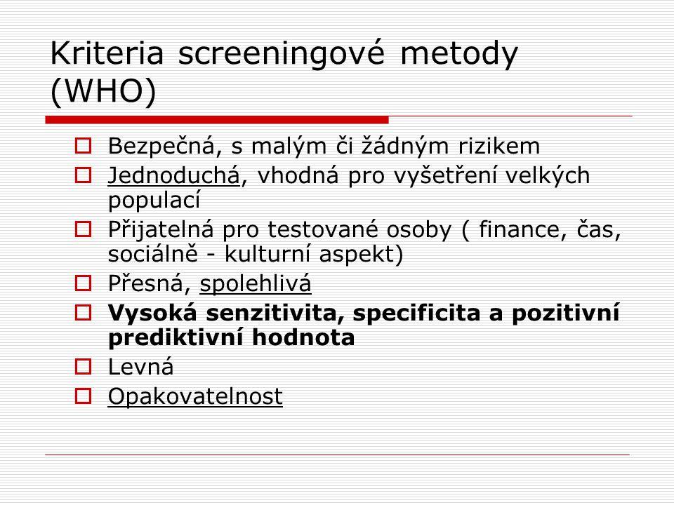 Kriteria screeningové metody (WHO)  Bezpečná, s malým či žádným rizikem  Jednoduchá, vhodná pro vyšetření velkých populací  Přijatelná pro testovan