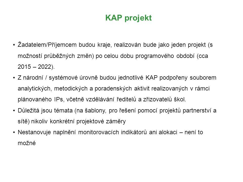 KAP projekt Žadatelem/Příjemcem budou kraje, realizován bude jako jeden projekt (s možností průběžných změn) po celou dobu programového období (cca 20