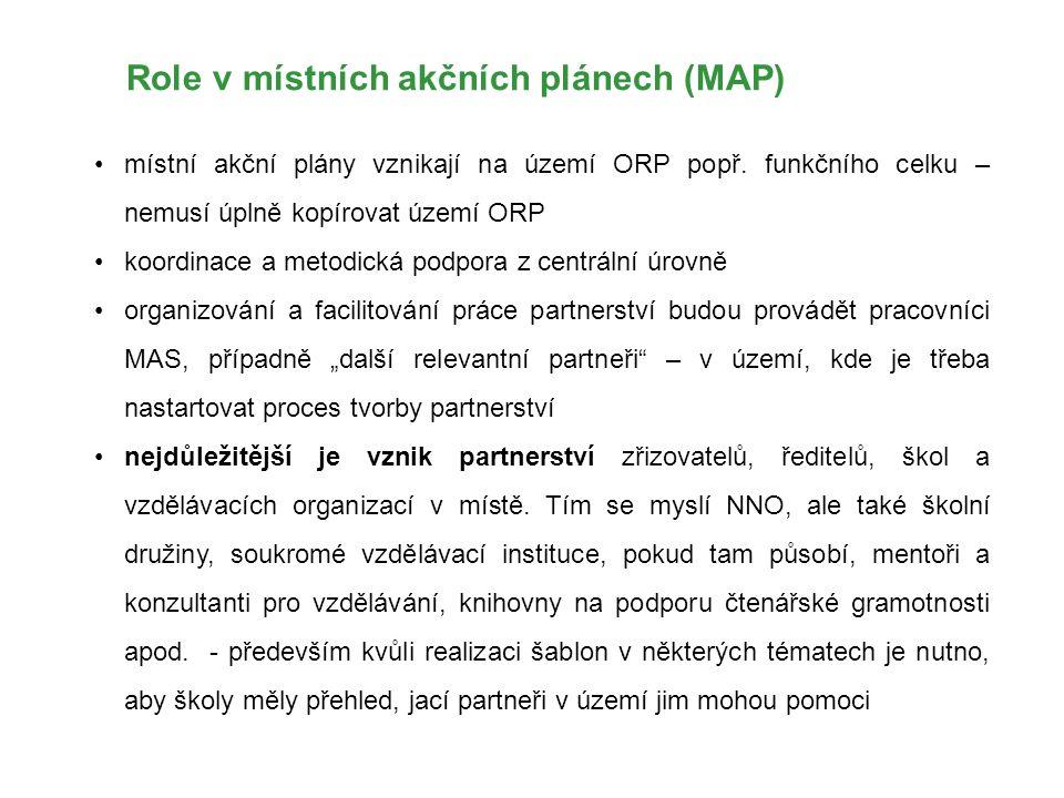 Role v místních akčních plánech (MAP) místní akční plány vznikají na území ORP popř. funkčního celku – nemusí úplně kopírovat území ORP koordinace a m