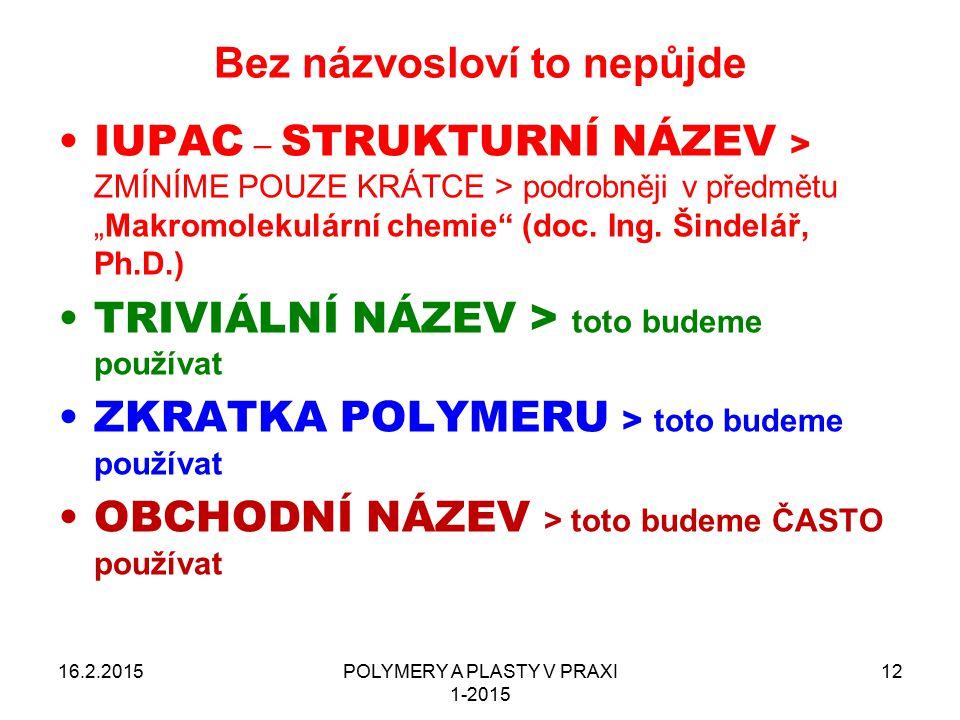 """POLYMERY A PLASTY V PRAXI 1-2015 12 Bez názvosloví to nepůjde 16.2.2015 IUPAC – STRUKTURNÍ NÁZEV > ZMÍNÍME POUZE KRÁTCE > podrobněji v předmětu """"Makro"""