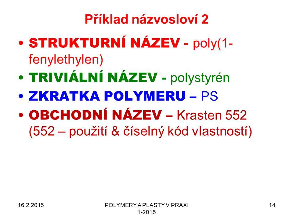 POLYMERY A PLASTY V PRAXI 1-2015 14 Příklad názvosloví 2 16.2.2015 STRUKTURNÍ NÁZEV - poly(1- fenylethylen) TRIVIÁLNÍ NÁZEV - polystyrén ZKRATKA POLYM