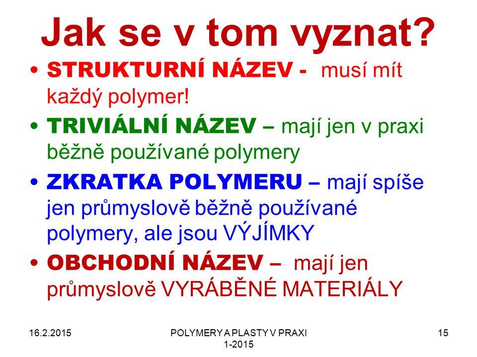 POLYMERY A PLASTY V PRAXI 1-2015 15 Jak se v tom vyznat? 16.2.2015 STRUKTURNÍ NÁZEV - musí mít každý polymer! TRIVIÁLNÍ NÁZEV – mají jen v praxi běžně