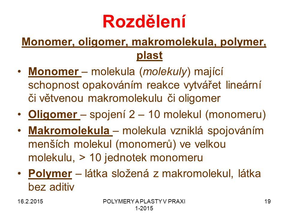 16.2.2015POLYMERY A PLASTY V PRAXI 1-2015 19 Rozdělení Monomer, oligomer, makromolekula, polymer, plast Monomer – molekula (molekuly) mající schopnost