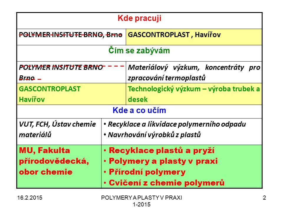 POLYMERY A PLASTY V PRAXI 1-2015 13 Příklad názvosloví 1 16.2.2015 STRUKTURNÍ NÁZEV - poly(ethylen) TRIVIÁLNÍ NÁZEV – polyethylen (polyetylén) ZKRATKA POLYMERU – LDPE (nízkohustotní – LD, polyethylen – PE) OBCHODNÍ NÁZEV - Bralen NA 7-25 (NA – zkratka použití, 7-25 – číselný kód vlastností)