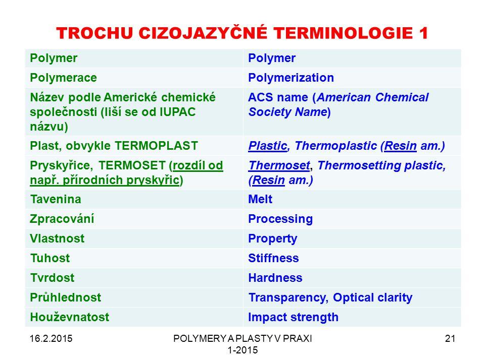 16.2.2015POLYMERY A PLASTY V PRAXI 1-2015 21 TROCHU CIZOJAZYČNÉ TERMINOLOGIE 1 Polymer PolymeracePolymerization Název podle Americké chemické společno