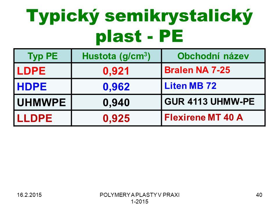 Typický semikrystalický plast - PE Typ PEHustota (g/cm 3 )Obchodní název LDPE0,921 Bralen NA 7-25 HDPE0,962 Liten MB 72 UHMWPE0,940 GUR 4113 UHMW-PE L
