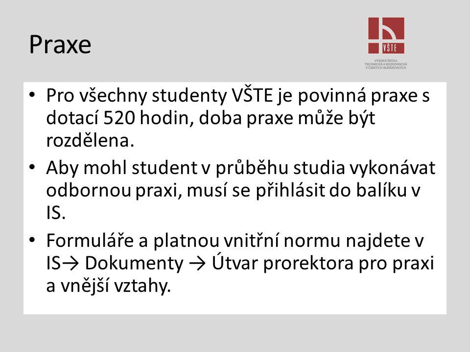 Praxe Pro všechny studenty VŠTE je povinná praxe s dotací 520 hodin, doba praxe může být rozdělena. Aby mohl student v průběhu studia vykonávat odborn