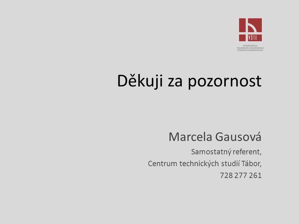Děkuji za pozornost Marcela Gausová Samostatný referent, Centrum technických studií Tábor, 728 277 261
