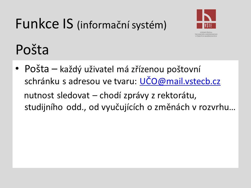 Funkce IS (informační systém) Pošta – každý uživatel má zřízenou poštovní schránku s adresou ve tvaru: UČO@mail.vstecb.czUČO@mail.vstecb.cz nutnost sl