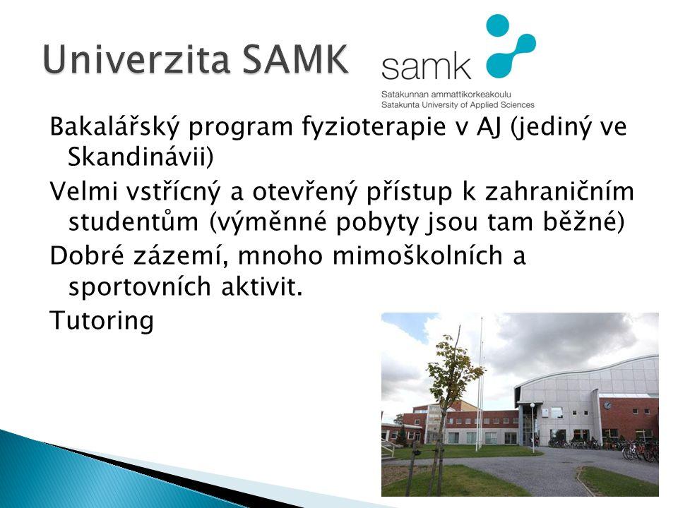 Bakalářský program fyzioterapie v AJ (jediný ve Skandinávii) Velmi vstřícný a otevřený přístup k zahraničním studentům (výměnné pobyty jsou tam běžné) Dobré zázemí, mnoho mimoškolních a sportovních aktivit.