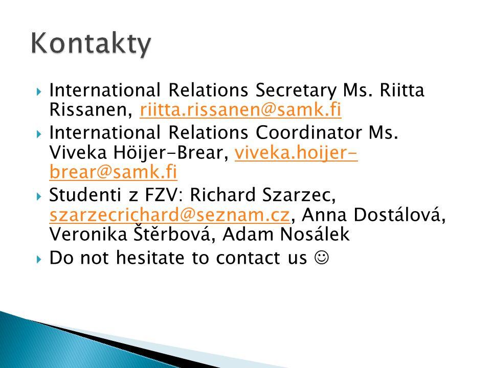  International Relations Secretary Ms.