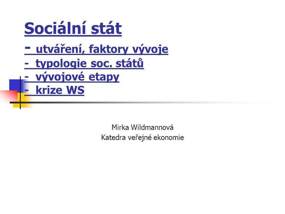 Sociální stát - utváření, faktory vývoje - typologie soc. států - vývojové etapy - krize WS Mirka Wildmannová Katedra veřejné ekonomie
