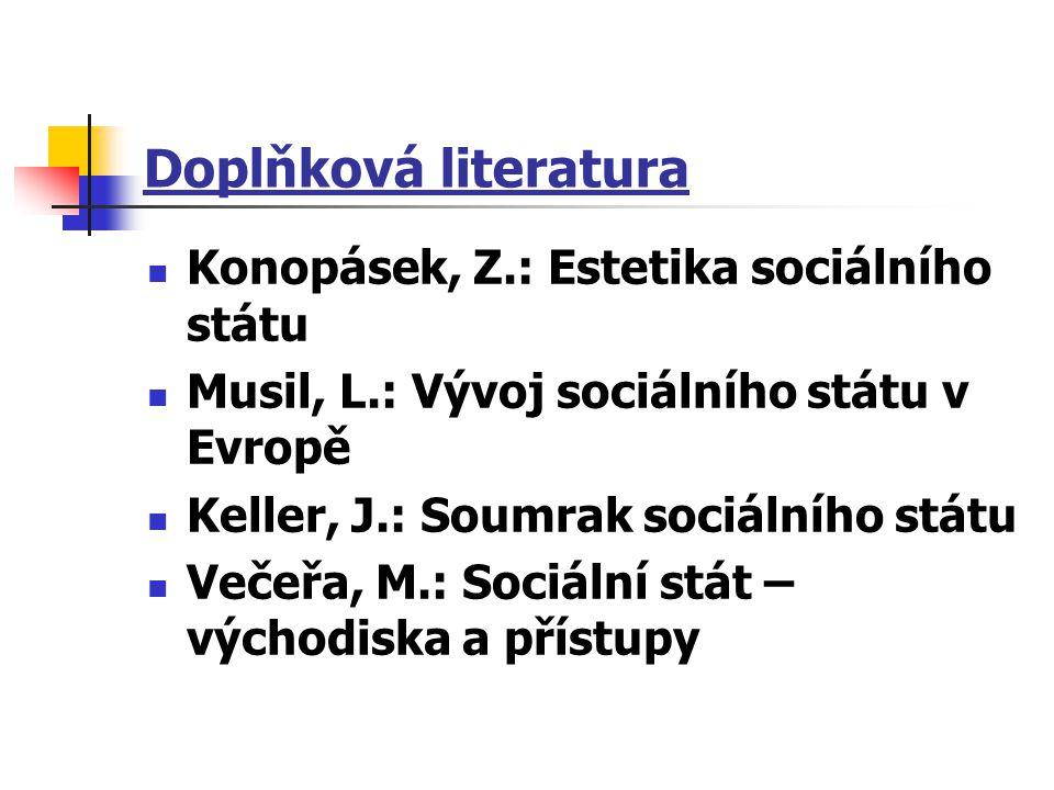 Doplňková literatura Konopásek, Z.: Estetika sociálního státu Musil, L.: Vývoj sociálního státu v Evropě Keller, J.: Soumrak sociálního státu Večeřa,