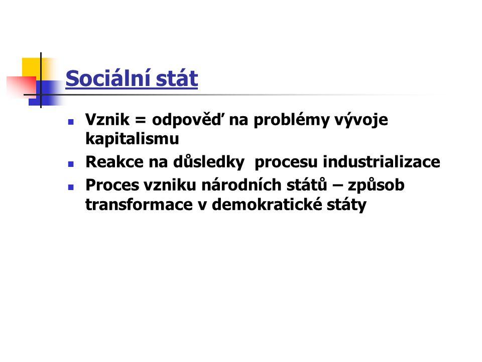 Sociální stát Vznik = odpověď na problémy vývoje kapitalismu Reakce na důsledky procesu industrializace Proces vzniku národních států – způsob transfo