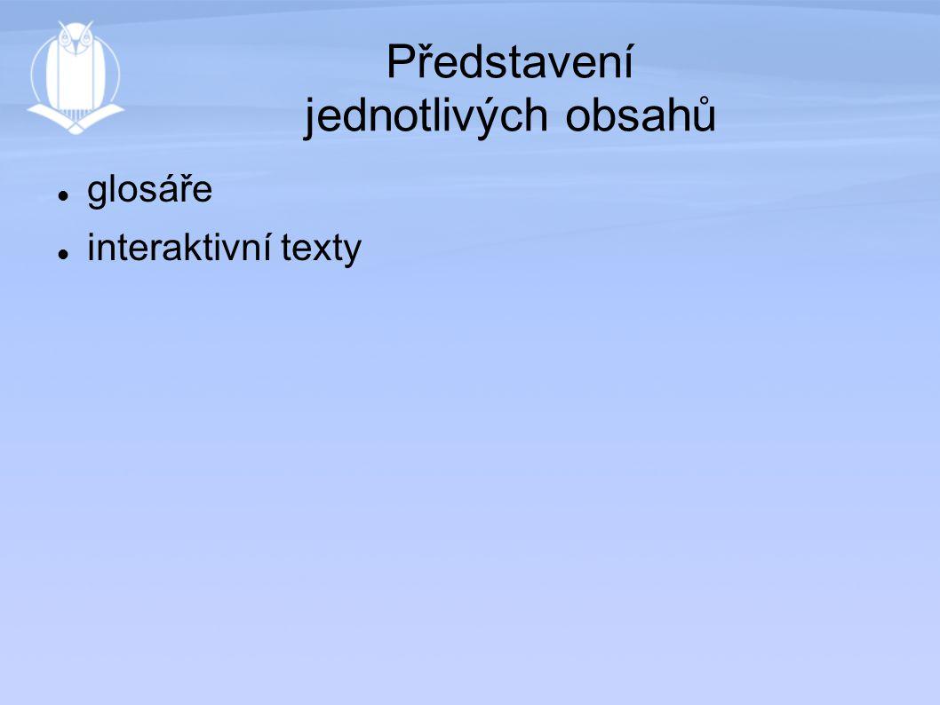 Představení jednotlivých obsahů glosáře interaktivní texty