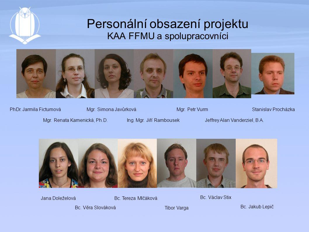 Personální obsazení projektu KAA FFMU a spolupracovníci PhDr.