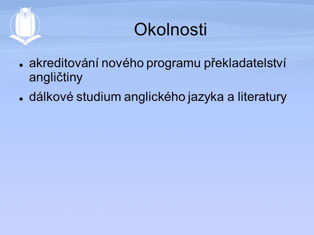Okolnosti akreditování nového programu překladatelství angličtiny dálkové studium anglického jazyka a literatury