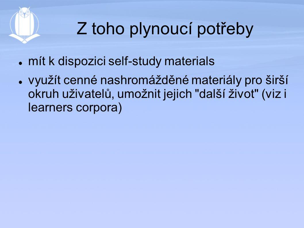 Z toho plynoucí potřeby mít k dispozici self-study materials využít cenné nashromážděné materiály pro širší okruh uživatelů, umožnit jejich další život (viz i learners corpora)