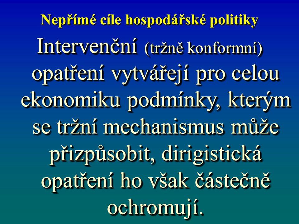 Nepřímé cíle hospodářské politiky Intervenční (tržně konformní) opatření vytvářejí pro celou ekonomiku podmínky, kterým se tržní mechanismus může přiz