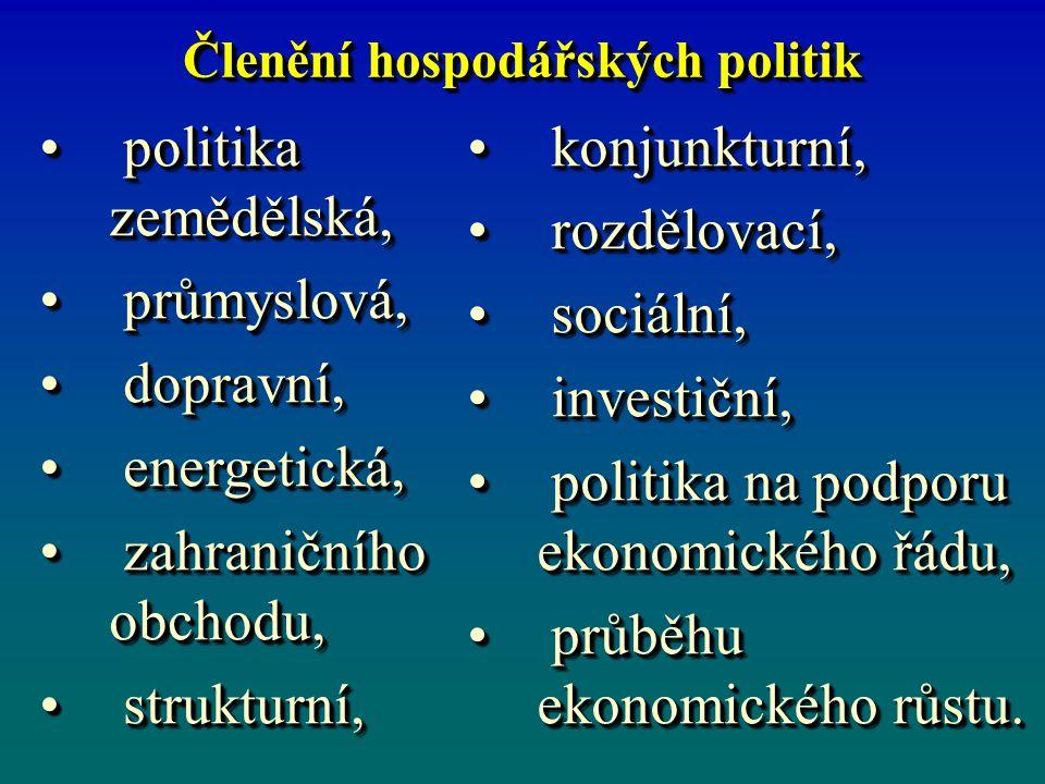 Členění hospodářských politik politika zemědělská, politika zemědělská, průmyslová, průmyslová, dopravní, dopravní, energetická, energetická, zahranič