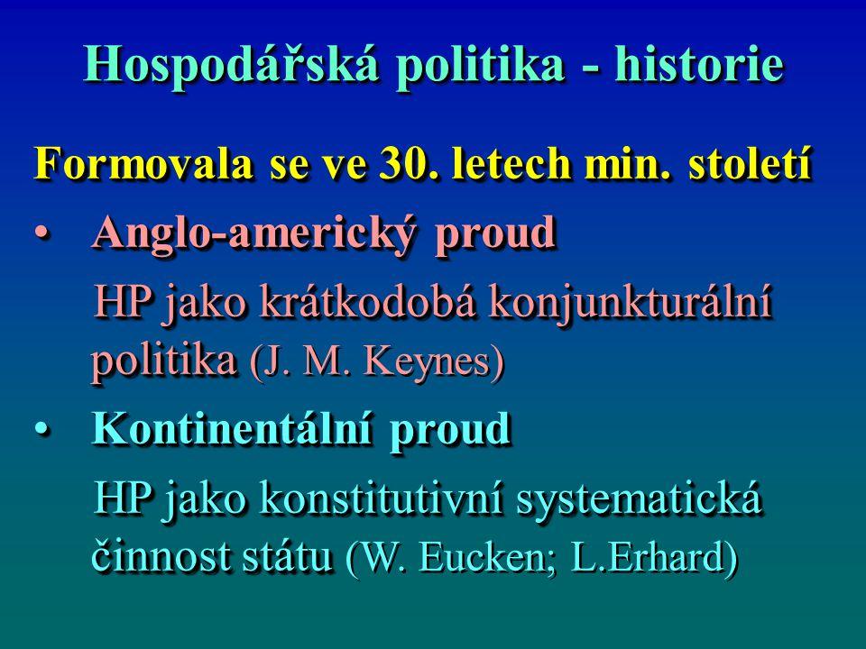 Hospodářská politika - historie Formovala se ve 30. letech min. století Anglo-americký proudAnglo-americký proud HP jako krátkodobá konjunkturální pol