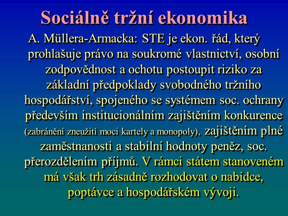 Sociálně tržní ekonomika A. Müllera-Armacka: STE je ekon. řád, který prohlašuje právo na soukromé vlastnictví, osobní zodpovědnost a ochotu postoupit