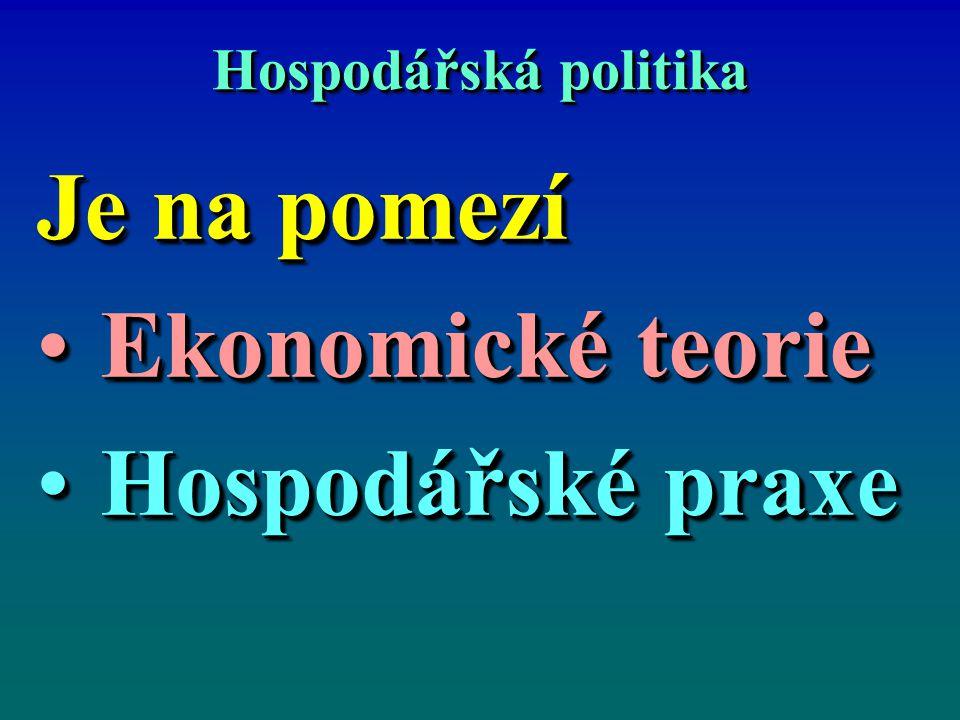 Hospodářská politika Je na pomezí Ekonomické teorieEkonomické teorie Hospodářské praxeHospodářské praxe Je na pomezí Ekonomické teorieEkonomické teori