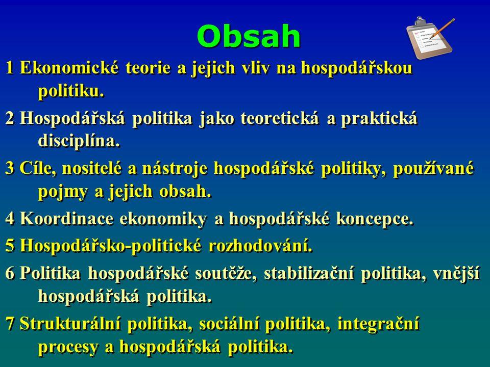 Obsah 1 Ekonomické teorie a jejich vliv na hospodářskou politiku. 2 Hospodářská politika jako teoretická a praktická disciplína. 3 Cíle, nositelé a ná