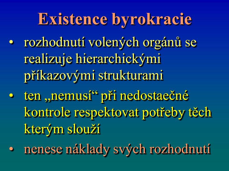 Existence byrokracie rozhodnutí volených orgánů se realizuje hierarchickými příkazovými strukturamirozhodnutí volených orgánů se realizuje hierarchick