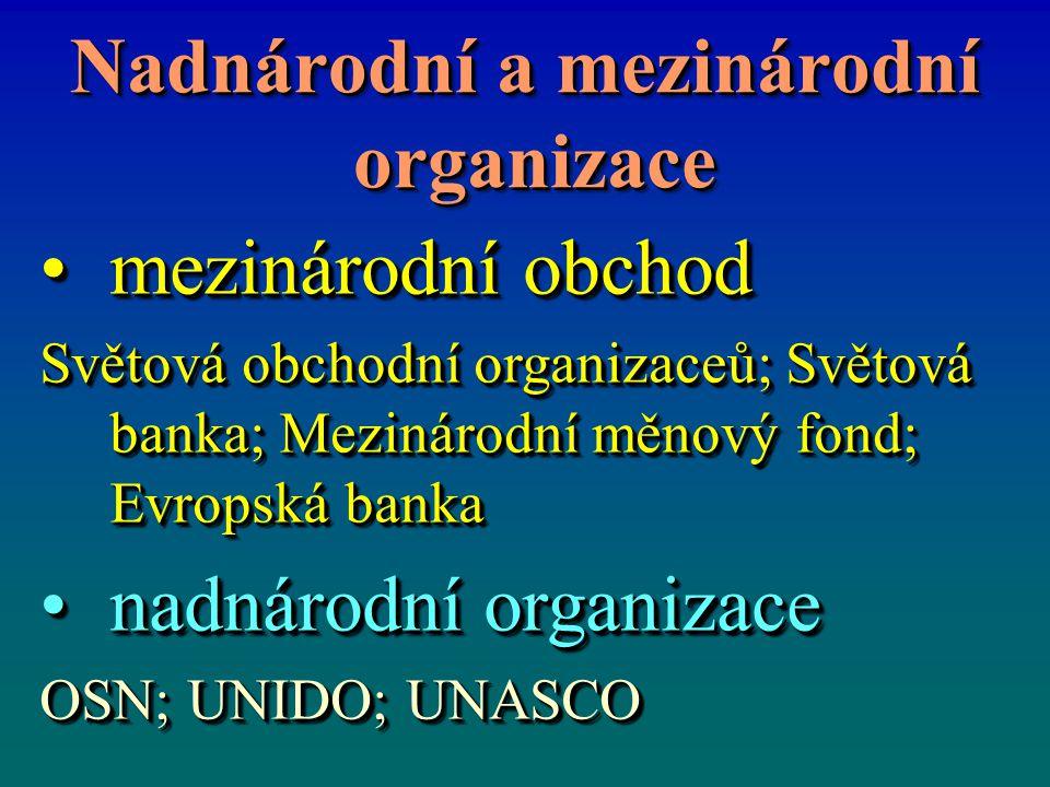 Nadnárodní a mezinárodní organizace organizace Nadnárodní a mezinárodní organizace organizace mezinárodní obchodmezinárodní obchod Světová obchodní organizaceů; Světová banka; Mezinárodní měnový fond; Evropská banka nadnárodní organizacenadnárodní organizace OSN; UNIDO; UNASCO mezinárodní obchodmezinárodní obchod Světová obchodní organizaceů; Světová banka; Mezinárodní měnový fond; Evropská banka nadnárodní organizacenadnárodní organizace OSN; UNIDO; UNASCO