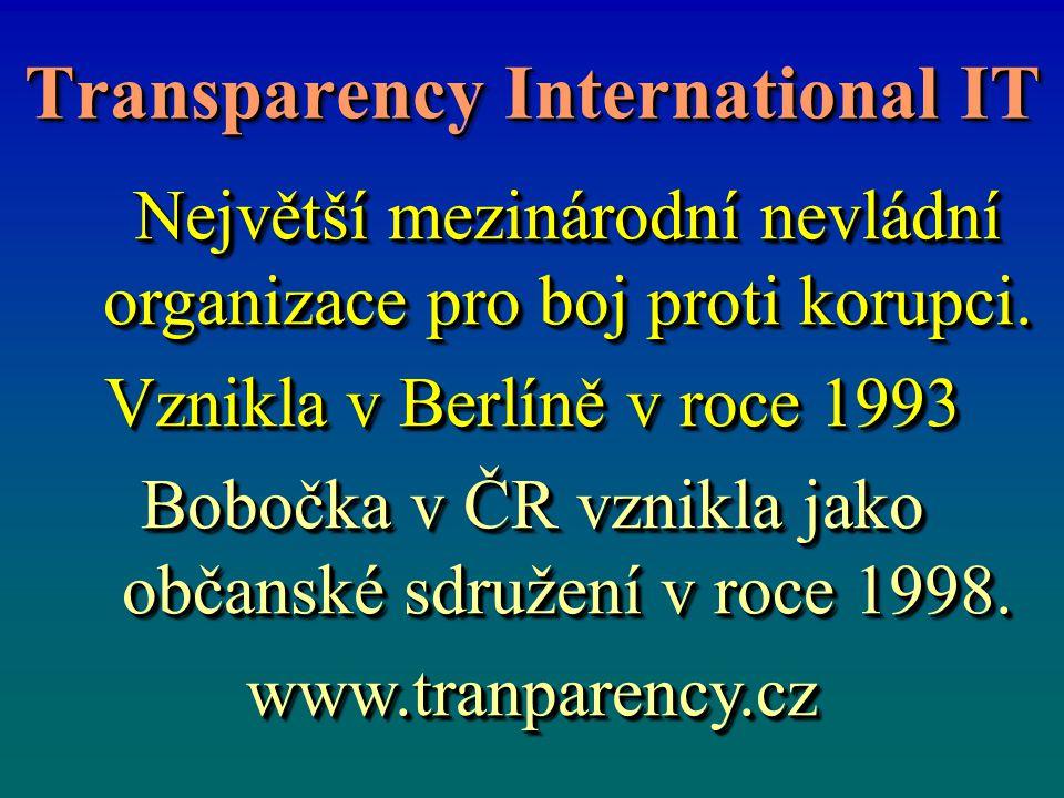 Transparency International IT Největší mezinárodní nevládní organizace pro boj proti korupci. Největší mezinárodní nevládní organizace pro boj proti k