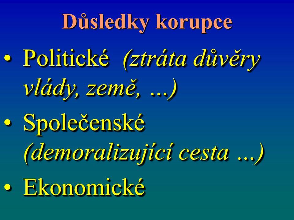 Důsledky korupce Politické (ztráta důvěry vlády, země, …)Politické (ztráta důvěry vlády, země, …) Společenské (demoralizující cesta …)Společenské (demoralizující cesta …) EkonomickéEkonomické Politické (ztráta důvěry vlády, země, …)Politické (ztráta důvěry vlády, země, …) Společenské (demoralizující cesta …)Společenské (demoralizující cesta …) EkonomickéEkonomické