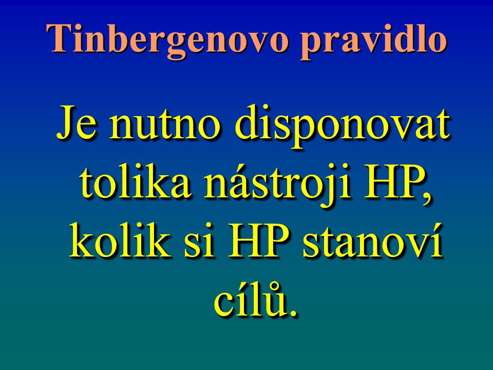 Tinbergenovo pravidlo Je nutno disponovat tolika nástroji HP, kolik si HP stanoví cílů. Je nutno disponovat tolika nástroji HP, kolik si HP stanoví cí
