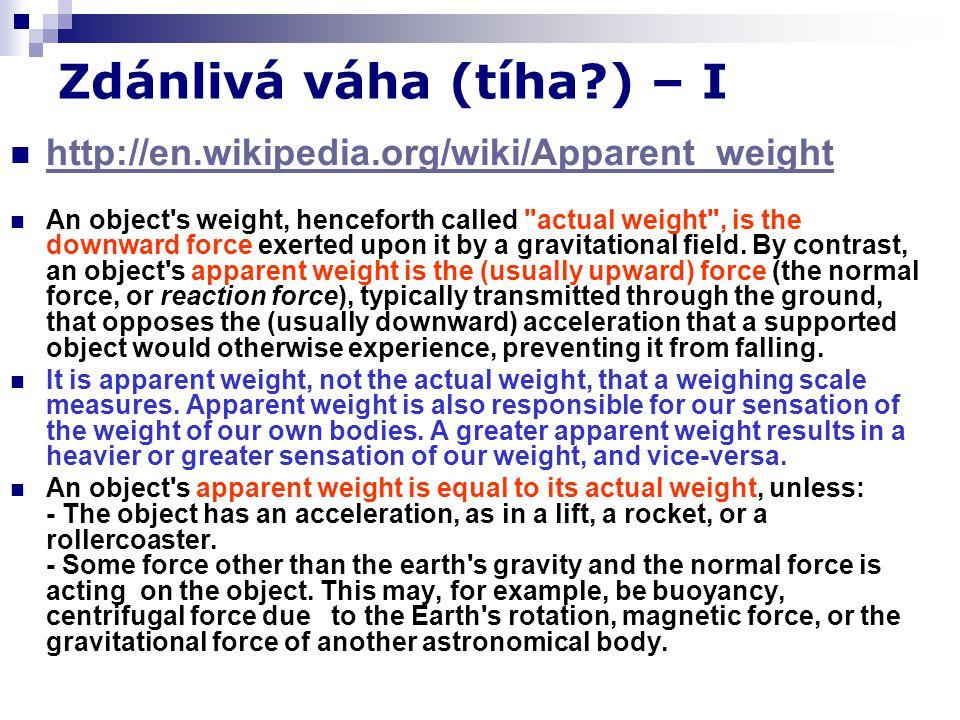 Zdánlivá váha (tíha?) – I http://en.wikipedia.org/wiki/Apparent_weight An object's weight, henceforth called